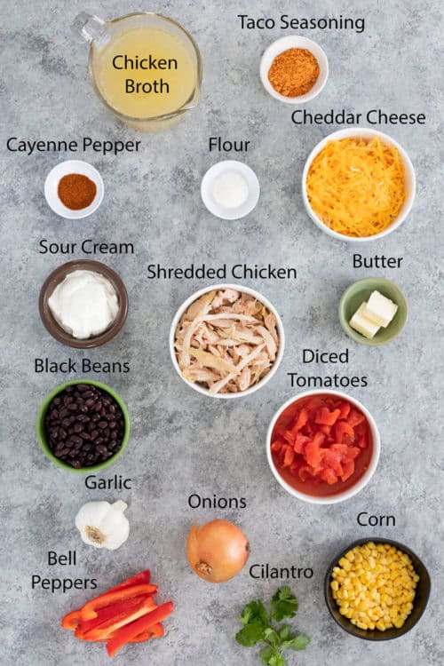 birds eye view of ingredients needed to make creamy chicken tortilla soup.