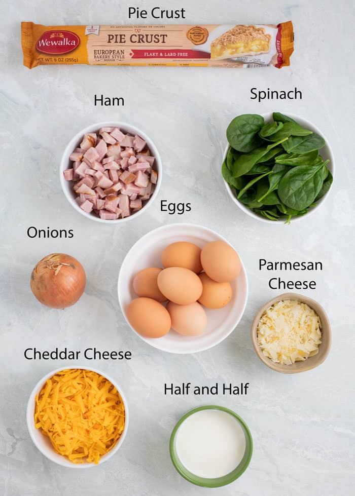 overhead view of ingredients needed to make ham and cheese quiche