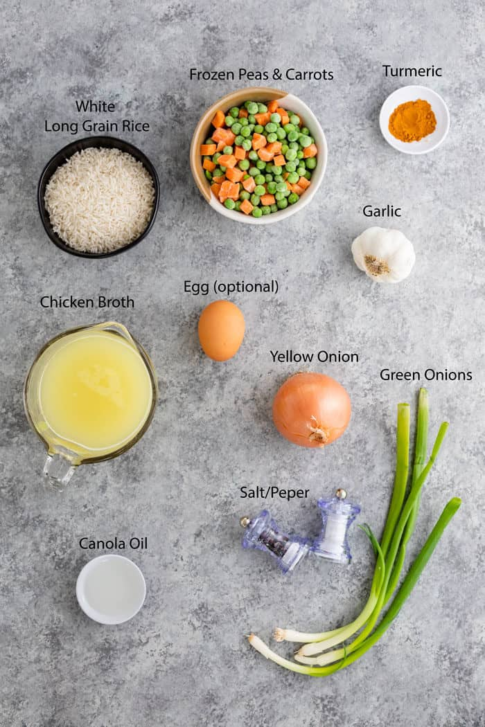 Overhead view of ingredients needed to make Rice Pilaf