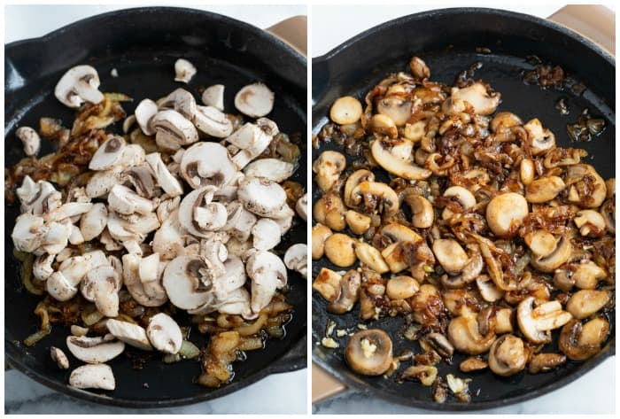 Mushrooms in a skillet before and after being cooked with onions.