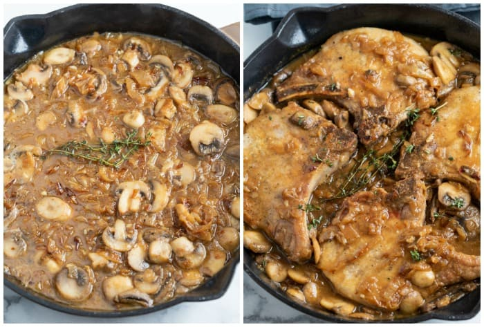French Onion sauce in a skillet on the left, pork chops added to the sauce on the right.