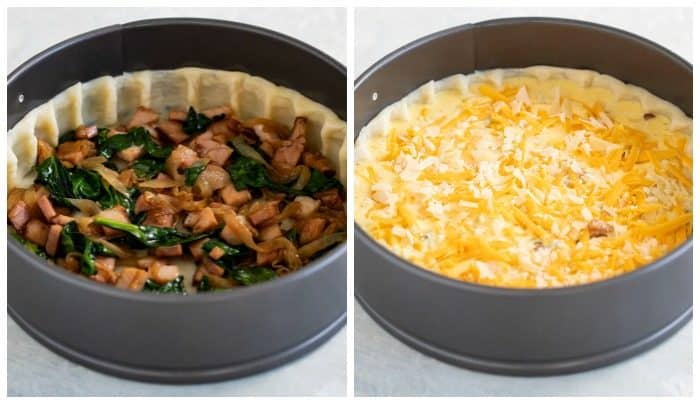 side by side images of a springform pan with quiche toppings