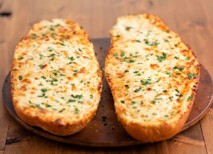 Cheesy homemade garlic bread after being baked.