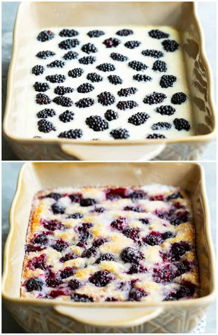 Blackberry Cobbler before and after being baked.
