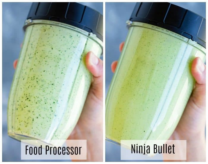 a bottle of cilantro lime dressing after being mixed in the food processor and after being mixed in a ninja bullet.