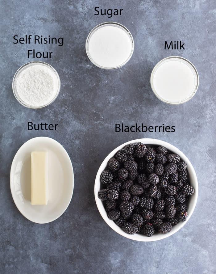 Overhead image of ingredients needed to make Blackberry Cobbler.