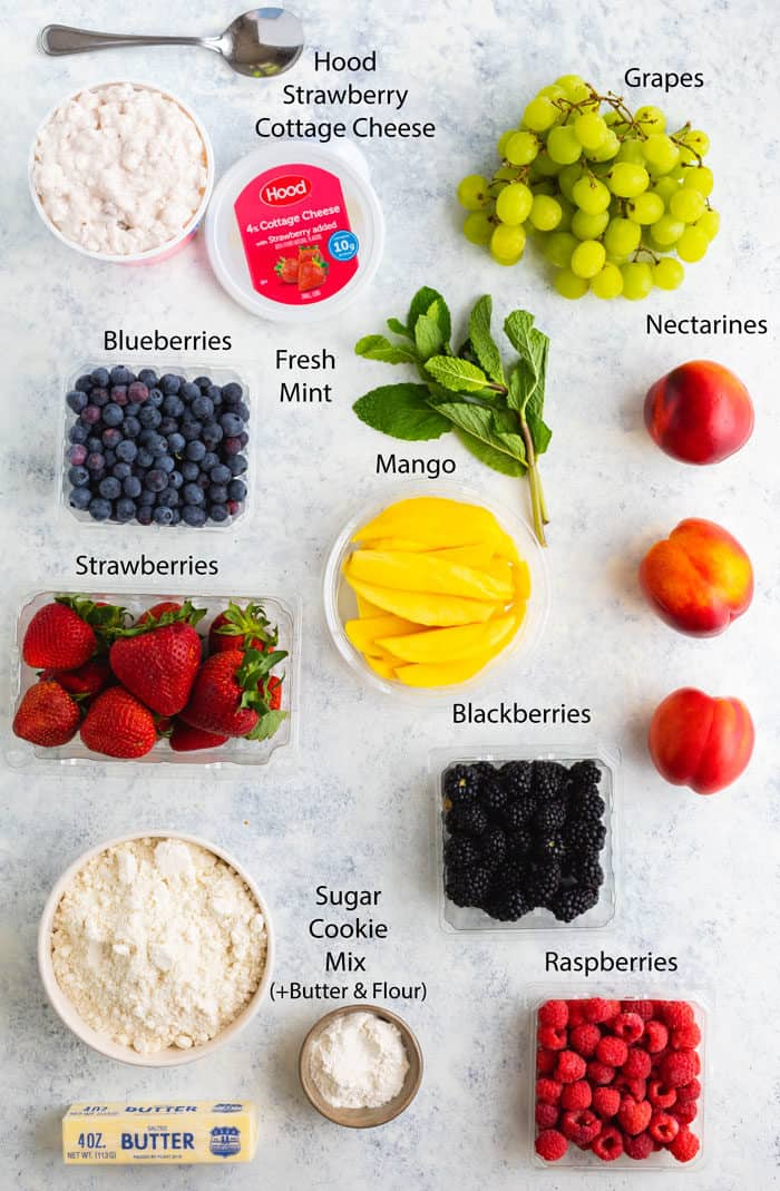 Overhead image of ingredients needed to make fruit pizza.