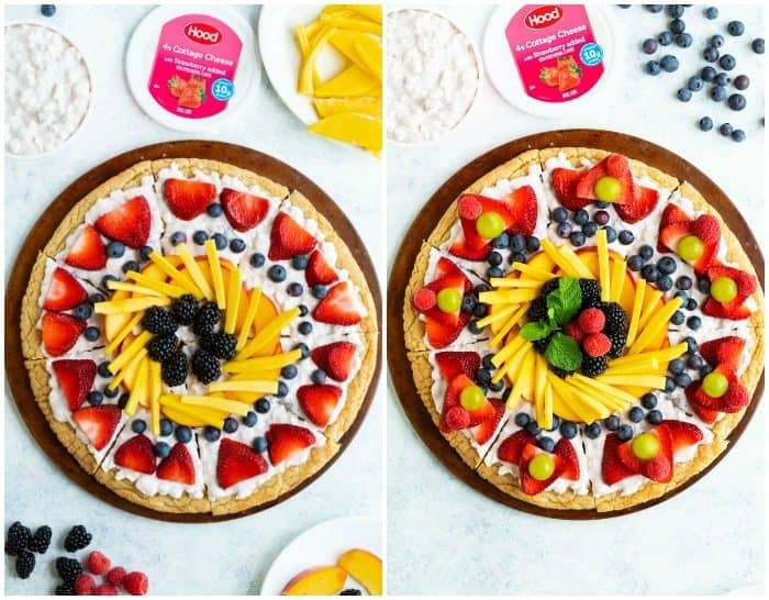 Side by side fruit pizza images, with the last one being fully decorated.