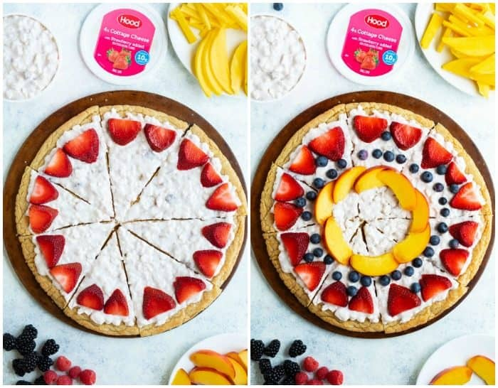 Side by side images of a fruit pizza being constructed as more fruit is added.