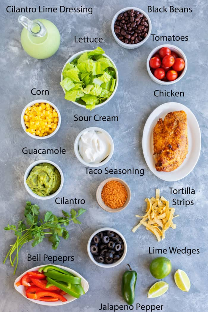 Overhead view of ingredients needed to make Southwest Salad.