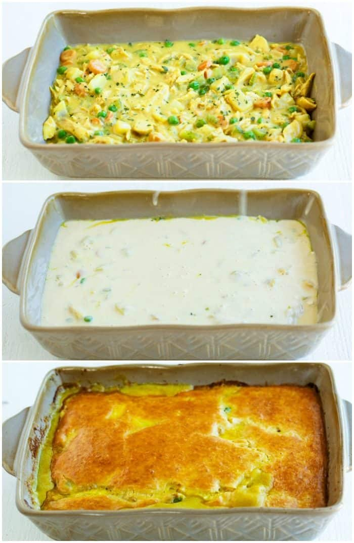 collage of a casserole dish with chicken pot pie casserole being prepared.