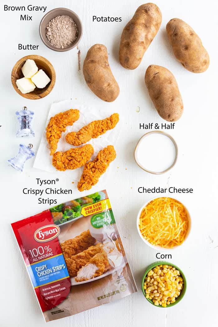 overhead view of ingredients needed to make mashed potato casserole with crispy chicken.