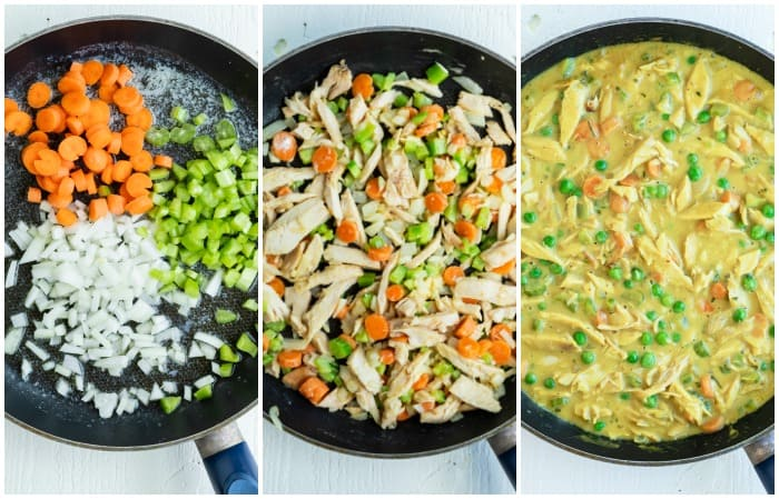 Showing 3 steps for preparing chicken pot pie filling in a skillet.