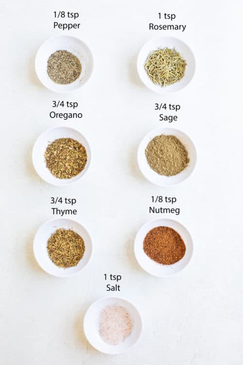 overhead view of different seasonings used to make potato seasoning.