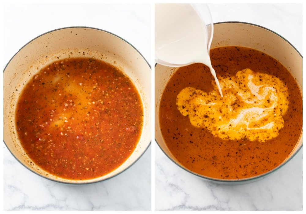 A pot with a tomato sauce, cream, chicken broth, and seasonings for making Tuscan Chicken Pasta.