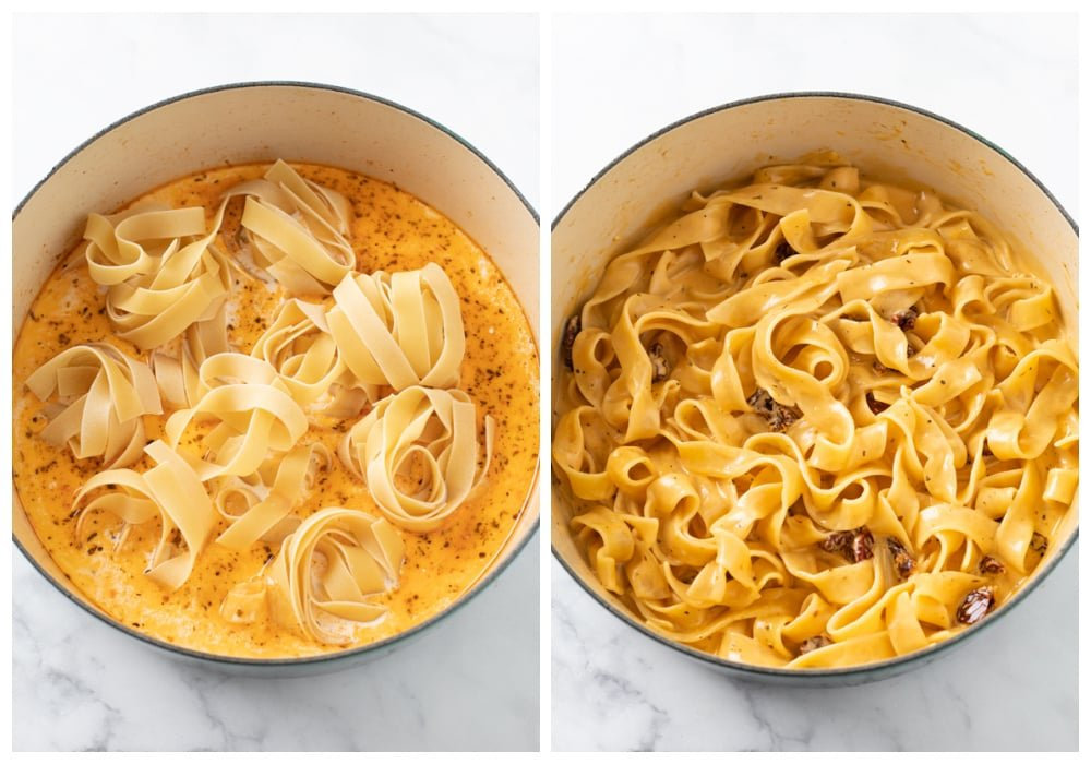 Pappardelle pasta in a pot before and after being cooked.