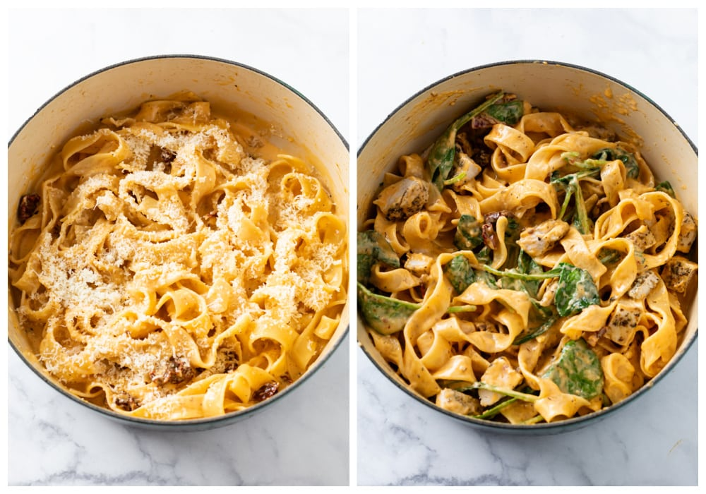 Adding Parmesan Cheese, Chicken, and Spinach to pasta to make Tuscan Chicken Pasta.