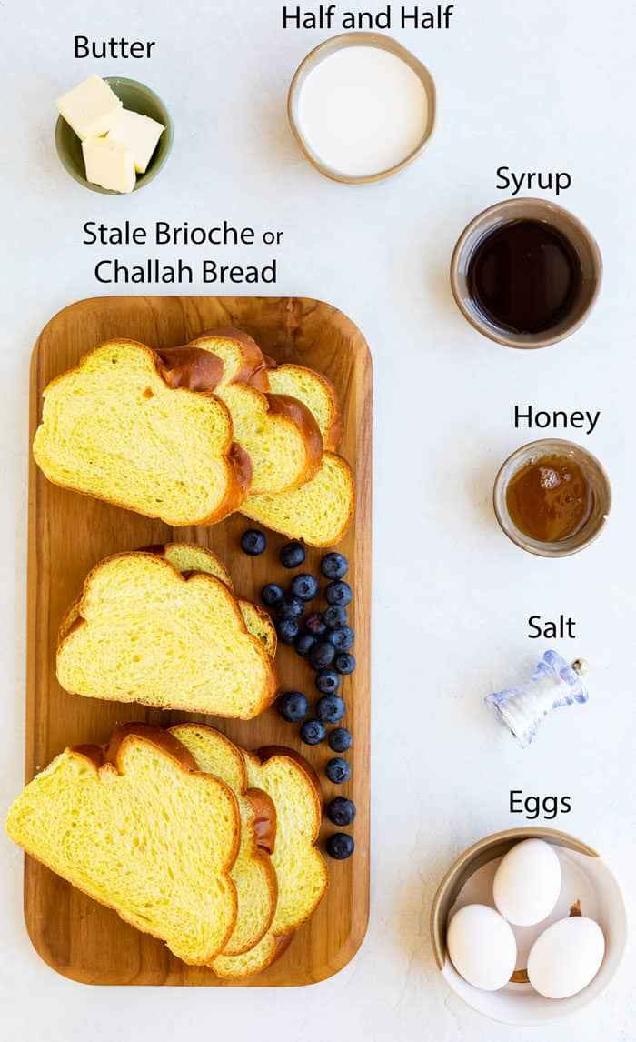 Overhead view of ingredients needed to make Alton Brown's French Toast recipe.