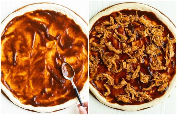 Two Pizza Crusts, one topped with BBQ Sauce and the other has BBQ Chicken added on top.
