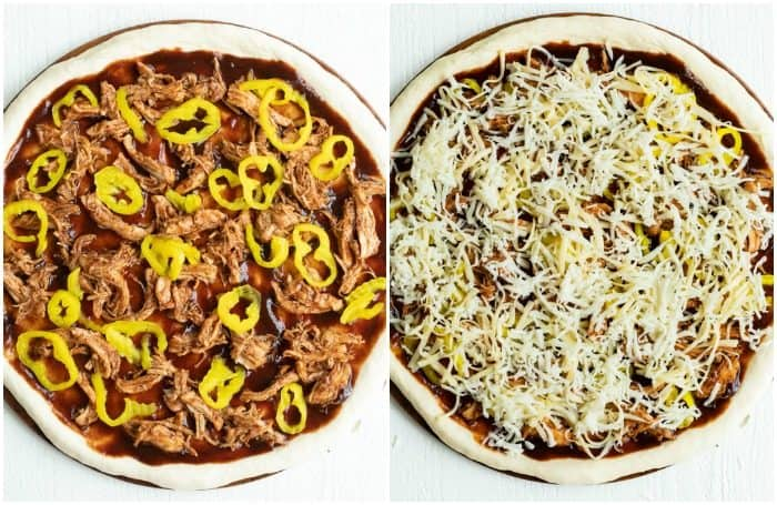 Side by side images of pizza crust, one with banana peppers and BBQ Chicken and the other with Mozzarella cheese.