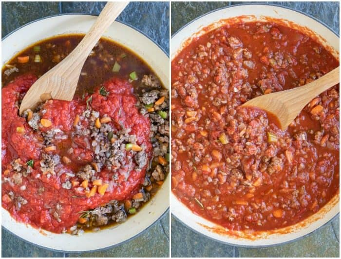Process of making bolognese sauce with crushed tomatoes being added and stirred in with a wooden spoon.