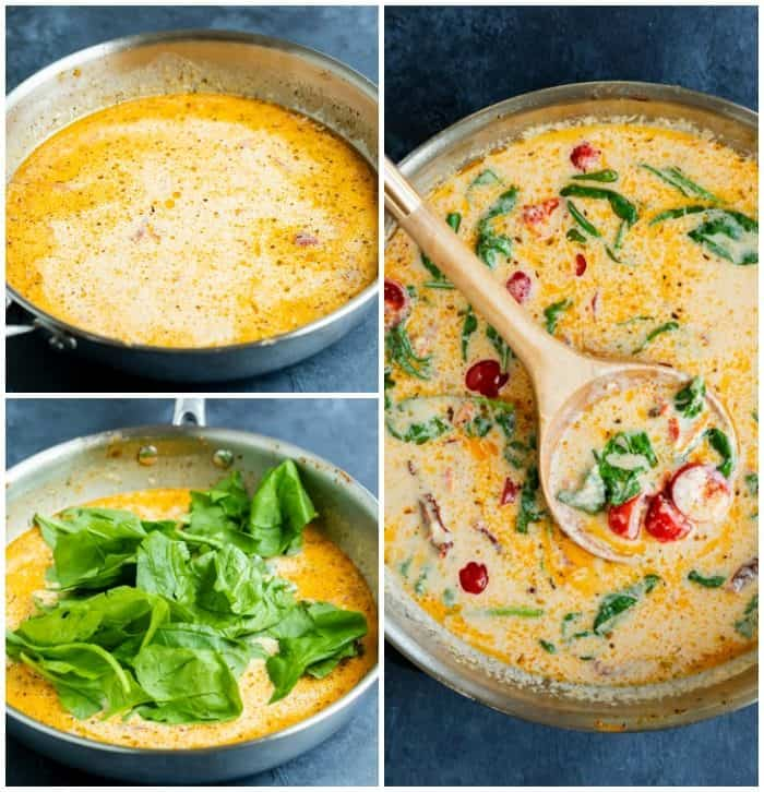 Collage of how to make creamy Tuscan Sauce.