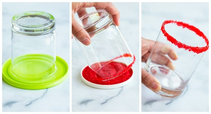 a collage showing how to sugar the rim of a glass.