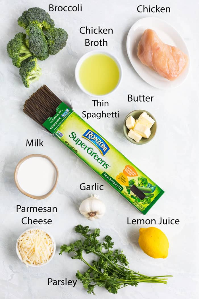 Overhead image of ingredients needed to make broccoli pasta.