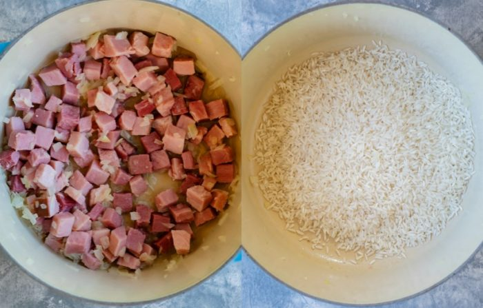 Ham in a sauce pan next to uncooked rice in a sauce pan.