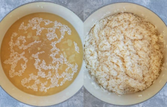 Chicken broth and uncooked rice in a sauce pan next to cooked rice in a sauce pan.