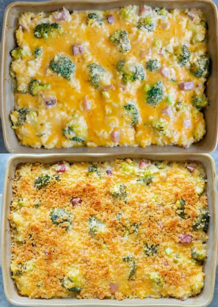 ham casserole with melted cheese on top and ham casserole with a ritz cracker crust on top.