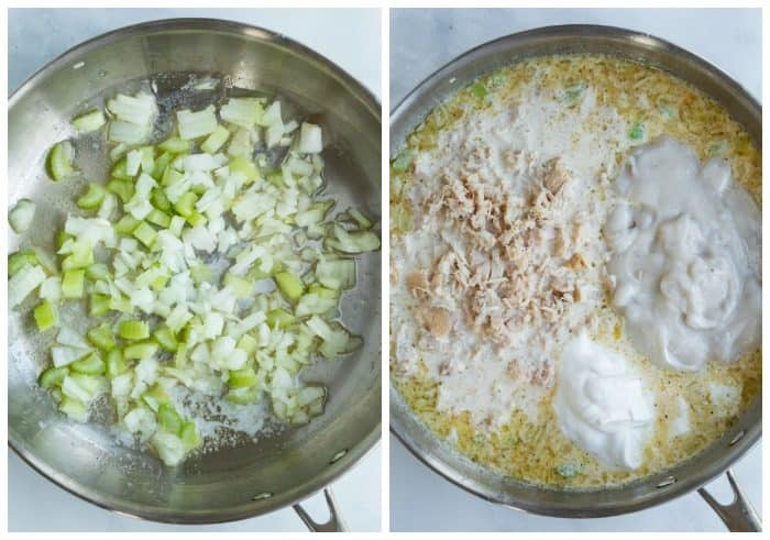 Two skillets showing onions and celery being cooked and tuna noodle casserole filling being added.
