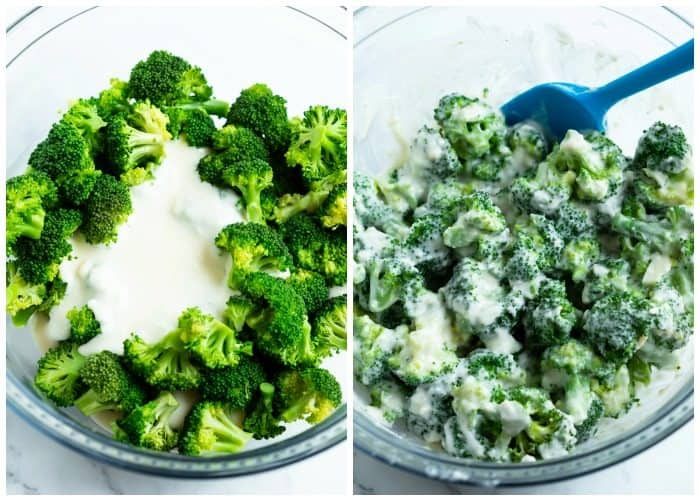 A glass bowl with broccoli before and after mixing it with cheese sauce.