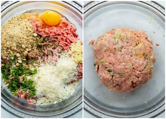 Meatball ingredients for Italian wedding soup in a glass bowl before and after mixing it.