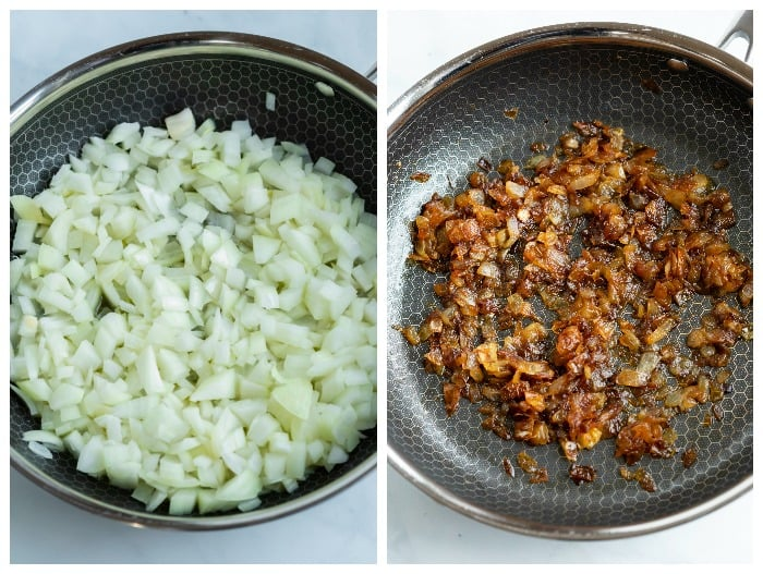 Before and after process shots for caramelizing onions to make spinach pie.