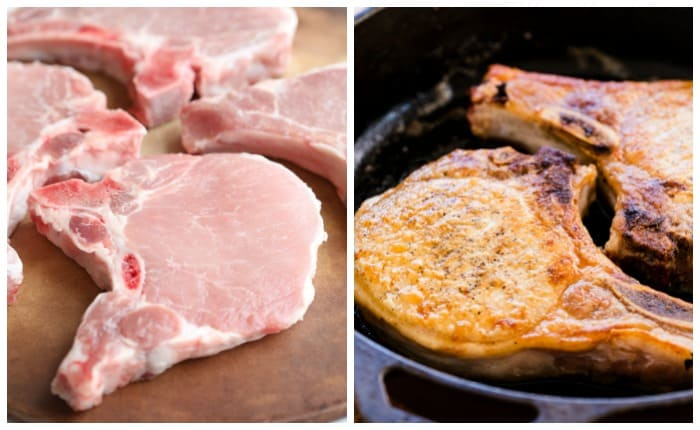 A raw bone-in pork chop next to a cooked pork chop in a skillet.