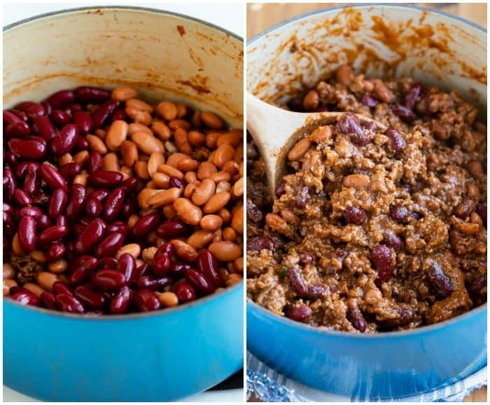 Pinto beans in a soup pot before and after bring mixed into a pot of chili.