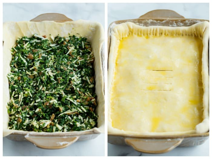 A casserole dish filled with spinach pie filling and topped with puff pastry dough.