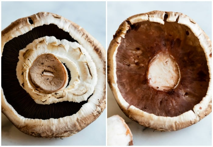 The inside of a portobello mushroom before and after having the stem and gills removed.
