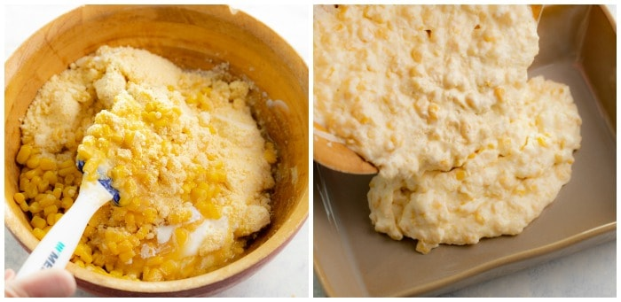 Mixing corn casserole in a bowl and adding it to a casserole dish.