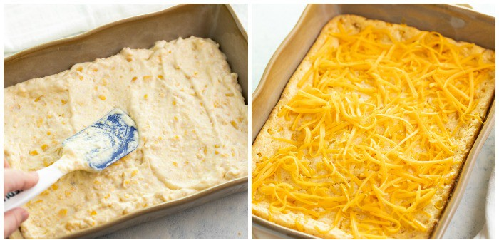 Speading corn casserole in a casserole dish and topping it with shredded cheese.