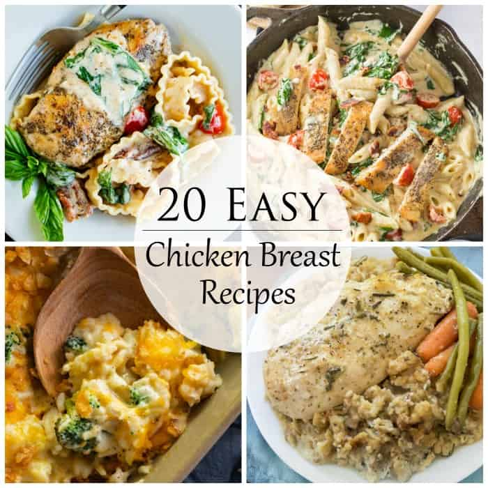 A collage of easy chicken breast recipes to make for dinner.