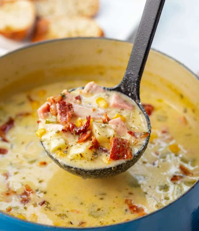 Cheesy Ham and Potato Soup - The Cozy Cook