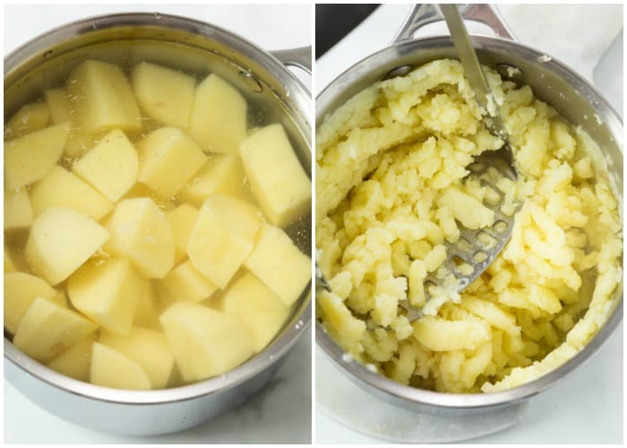 Potatoes in a pot before and after being mashed.