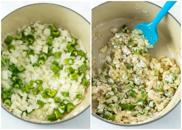 Diced onions and celery being cooked in a pot with butter and tossed with flour.
