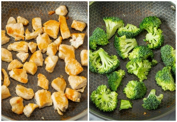 A skillet filled with cooked chicken and then with broccoli for making stir fry.