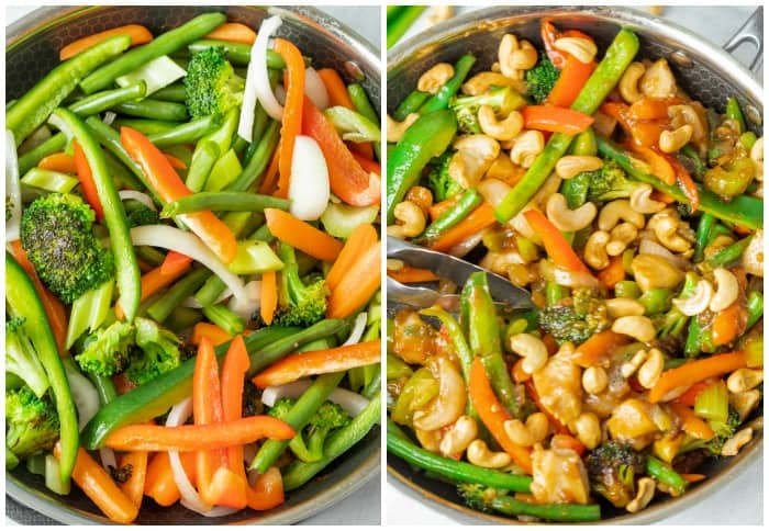 A skillet filled with vegetables for making stir fry next to a skillet with finished chicken stir fry topped with cashews.