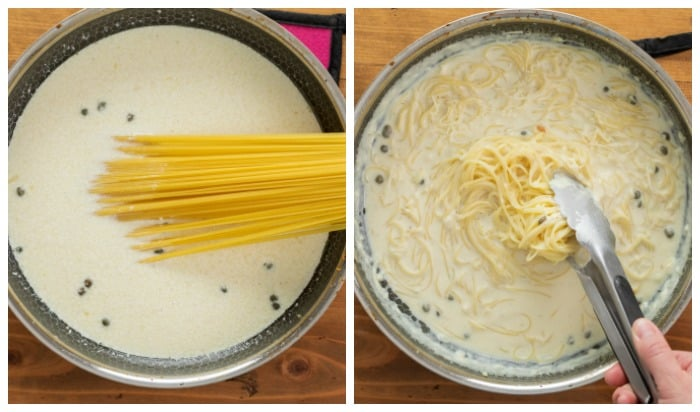 A pot of cream sauce with uncooked pasta in it next to a pot of cooked angel hair pasta.