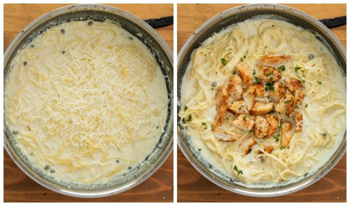A pot of angel hair pasta in a cream sauce topped with parmesan cheese next to a pot of creamy pasta topped with grilled chicken.