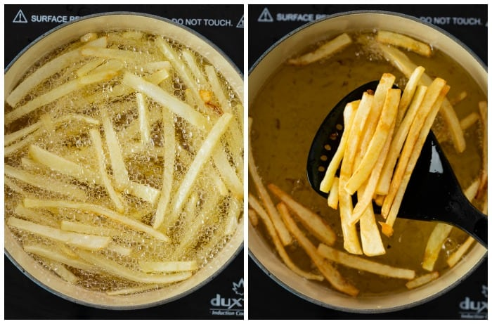 French fries being fried in a dutch oven until golden and crispy.